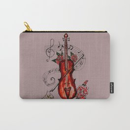 Brown Violin with Notes Carry-All Pouch