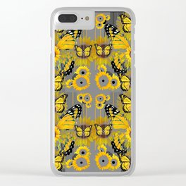 CONTEMPORARY MONARCH BUTTERFLY SUNFLOWERS MONTAGE Clear iPhone Case