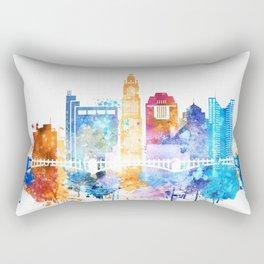 Colombus Watercolor Skyline Rectangular Pillow