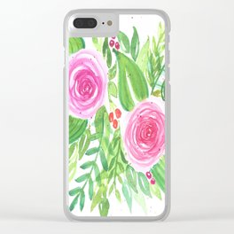 Spring Floral Pink Roses Green Leaves Watercolor Clear iPhone Case