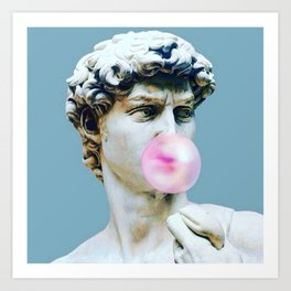 The Statue of David (Michelangelo) with Bubblegum Art Print