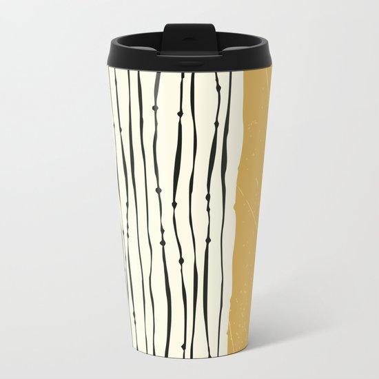 Gold Zebra Stripes Metal Travel Mug