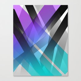 Transparent Abstract Geometric Shapes Purple and Teal Canvas Print