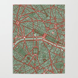 Paris city map pop Poster