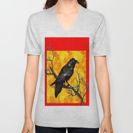 Oriental Style Red Crow Tree Art Unisex V-Neck