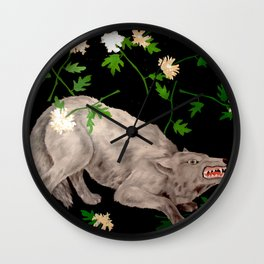 Wolf in ecstasy Wall Clock