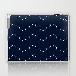 Minimal Spotted Stripes Pattern, Navy Blue, Boho Wall Art Laptop & iPad Skin