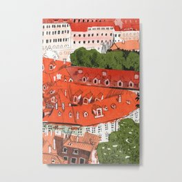 Red Roofs of Prague Cityscape Paper Collage Ink Sketch Metal Print