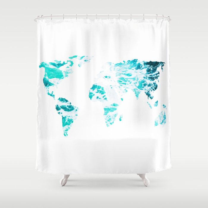 World Map In Turquoise Sea Shower Curtain