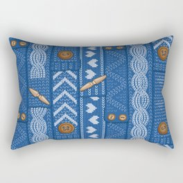Scarves Knitted Buttoned - Blue Rectangular Pillow