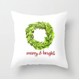 Merry & Bright Christmas Boxwood Wreath Throw Pillow