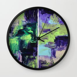 Violet & Green On A Rainy Day Wall Clock