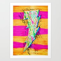 lightning Art Prints featuring Lightning by Hugo Diaz Romero