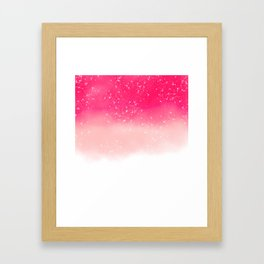 Modern hand painted neon pink pastel ombre watercolor splatters Framed Art Print