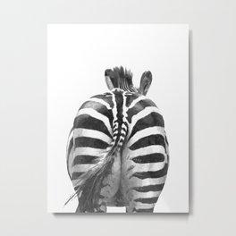 Black and White Zebra Tail Metal Print