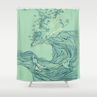 line Shower Curtains featuring Ocean Breath by Huebucket