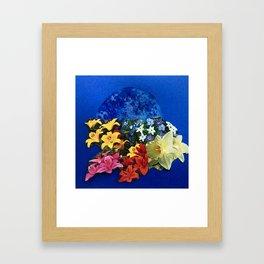 Garden Circle - Blue Framed Art Print