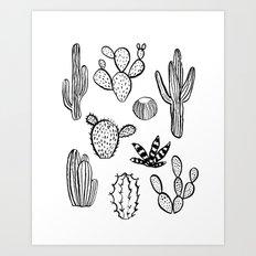 Cactus desert southwest palm springs festival house plant succulent terrarium black and white art Art Print