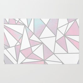Modern white pink teal watercolor geometrical shapes Rug