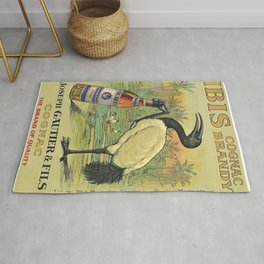 Vintage Ibis Cognac Brandy Alcoholic Beverage Advertising Poster Rug