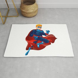 Superhero flying. Superhero in action Rug