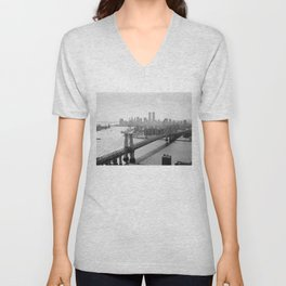Photograph of NYC and The Williamsburg Bridge Unisex V-Neck
