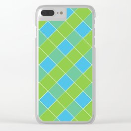 PLAID, NEON BLUE AND LIME GREEN Clear iPhone Case