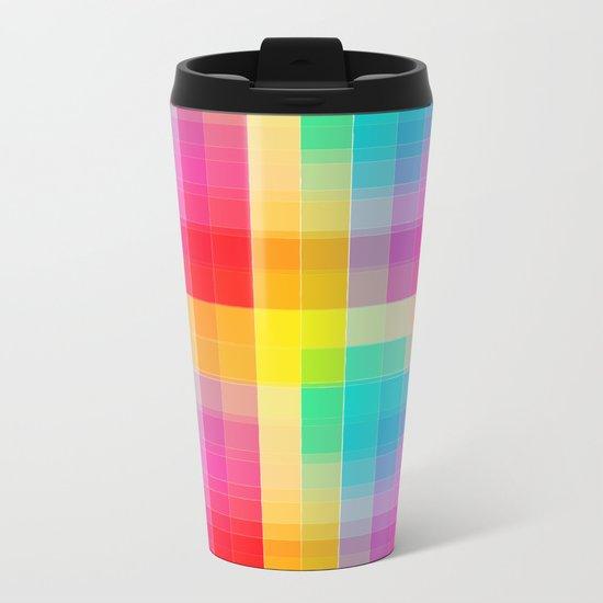 Rainbow grid Metal Travel Mug