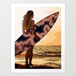 Authentic Aboriginal Art - Surfs up Australia Art Print