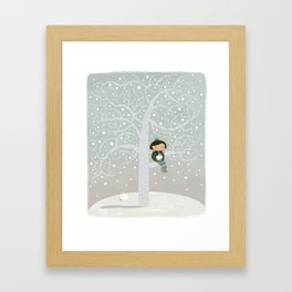 Winter Tree Girl  Framed Art Print