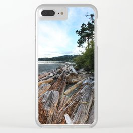 Driftwood on the shore Clear iPhone Case