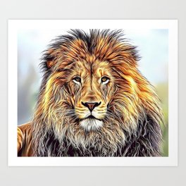 Lion Portrait Airbrush Artwork Art Print