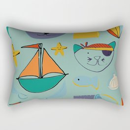 cat and bear at the beach blue green Rectangular Pillow