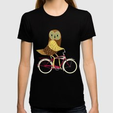 Owl Bicycle Black MEDIUM Womens Fitted Tee