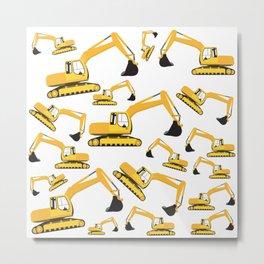 Excavator Truck Construction Trucks Pattern Metal Print