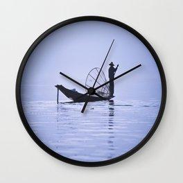 FISHERMAN AT INLE LAKE II Wall Clock