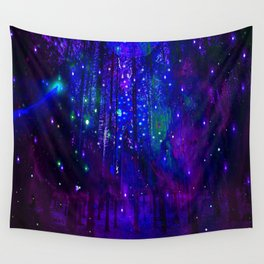 TREES MOON AND SHOOTING STARS Wall Tapestry