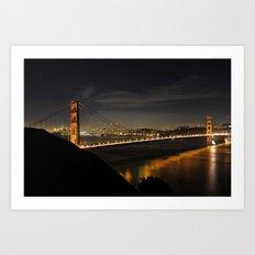 Golden Gate Bridge @ Night Art Print