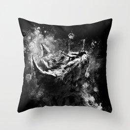 serval cat splatter watercolor black white Throw Pillow