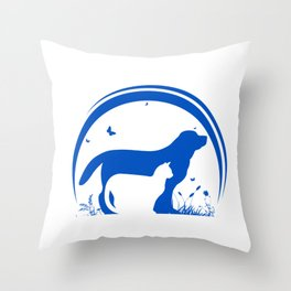 Dog and Cat and nature Silhouette Throw Pillow