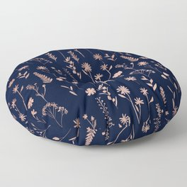 Hand drawn rose gold cute dried pressed flowers illustration navy blue Floor Pillow
