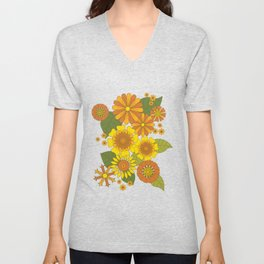Orange, Brown, Yellow and Green Retro Daisy Pattern Unisex V-Neck