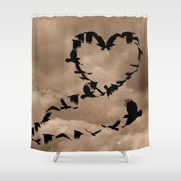 Heart of Crows (Birds) A276 Shower Curtain