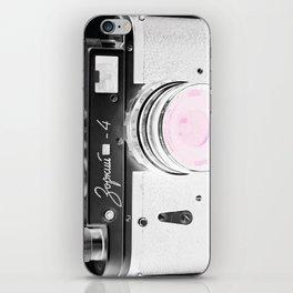 vintage Camera Black & White + Pink iPhone Skin
