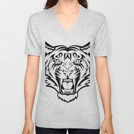 Tiger linear vector Unisex V-Neck