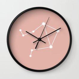 Libra Zodiac Constellation - Pink Rose Wall Clock