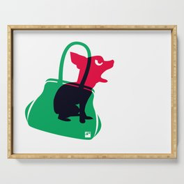 Angry animals: chihuahua - little green bag Serving Tray