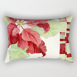 Elegant Single Poinsettia Modern Stripe Christmas Winter Holidays Rectangular Pillow