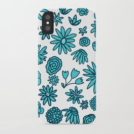Blue Flowers on White iPhone Case
