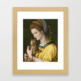 Portrait of a Young Lady Holding a Cat by Bacchiacca, 1525 Framed Art Print
